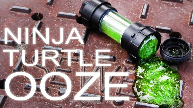 """How to Make Slime (Ninja Turtle Ooze) & Awesome Radioactive Toxic Goo Container!  1 cup water 1/2 tsp Borax in another bowl 1/2 cup water 5 fl oz clear glue 7 drops food coloring  mix together & watch it turn instantly into a shiny, oozy non-toxic fun! For Canister use 2"""" plumbing clean out adapters & plastic from a bottle & hot glue together."""