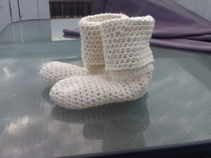 Crochet Adult booted slippers. $40