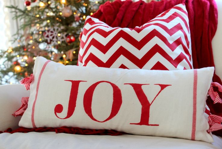 Christmas Stenciled Pillows