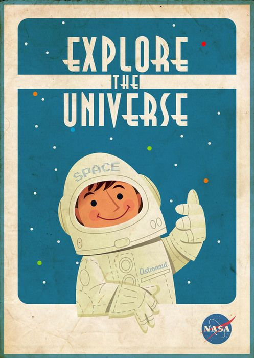 Explore the Universe - cute for a little boys room #print #poster
