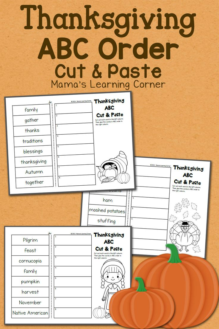 Download a 3-page set of Thanksgiving-themed ABC order worksheets! Fun cut and paste style.