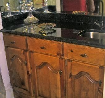 Custom Made Granite Built-In Wet Bar With Cathedral Doors