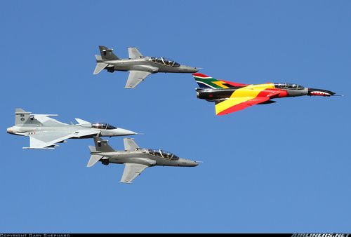 ☆ South African Air Force ✈Atlas Cheetah D leading a formation of two Hawk Mk 120 and a JAS-39C Gripen. All belong to the South African Air Force ☆