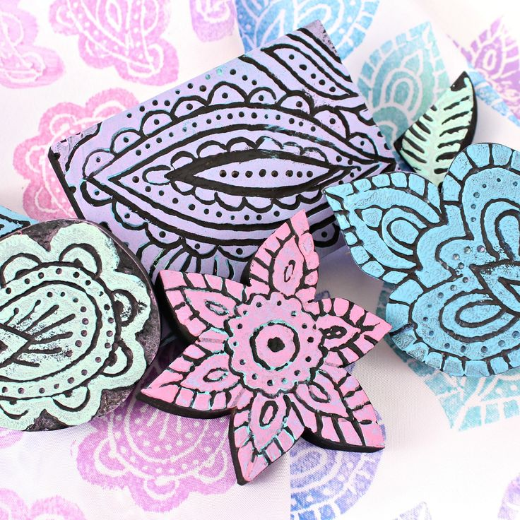 Carve your own wood printing blocks using a very simple tool and print with Americana Multi Surface Satin Paints!