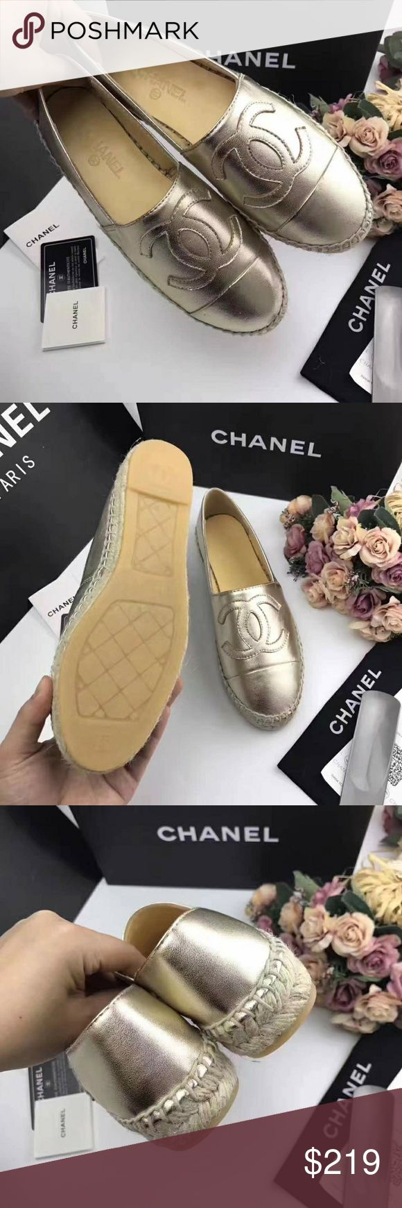 Chanel Espadrilles Inspired by designer Espadrilles, that why price is low. Geniue buttery soft lambskin leather. Run small order full size up. Delivery might take up 2 weeks. No trades. No returns or exchanges. For size measurements look my other listings. size eu 36 = 22,5 - 23 cm, size eu 37 = 23 - 23,5 cm, size eu 38 = 23,5 - 24 cm, size eu 39 = 24 - 24,5 cm, size eu 40 = 24,5 - 25 cm, size eu 41 = 25 - 25,5 cm, size eu 42 = 25,5 - 26 cm. Shoes Espadrilles