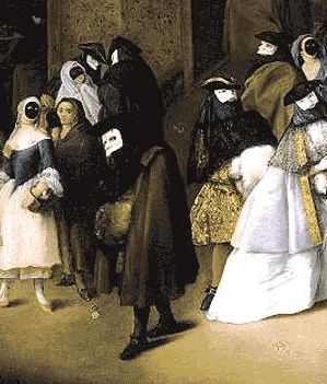 """The original elements of the Bauta disguise comprises of the typically shining white face-shaped mask (""""larva"""" or """"volto""""), a black cape or veil of silk, a cloak (tabarro) or mantle, and a three-cornered (""""tricorne"""") hat. The Bauta was worn by both Venetian ladies and gentlemen alike."""