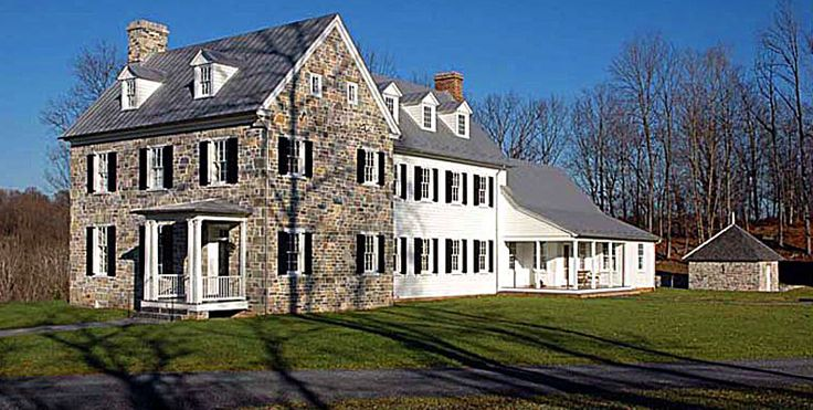Beautiful Stone Farmhouse Black Shutters White Clapboard