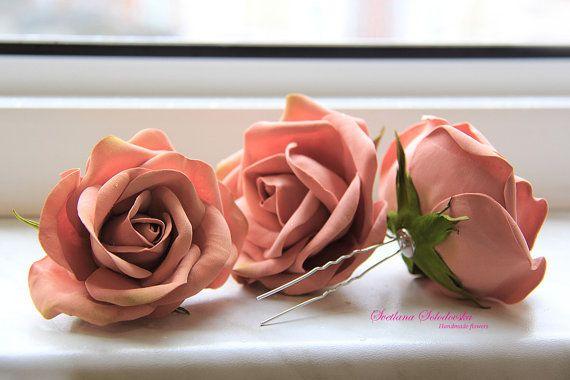 Fermagli per capelli, clip di fiore, perni di fiore di nozze, perni di capelli nuziali, fiori di Bobby Pin, floreale capelli Bobbies è aumentato