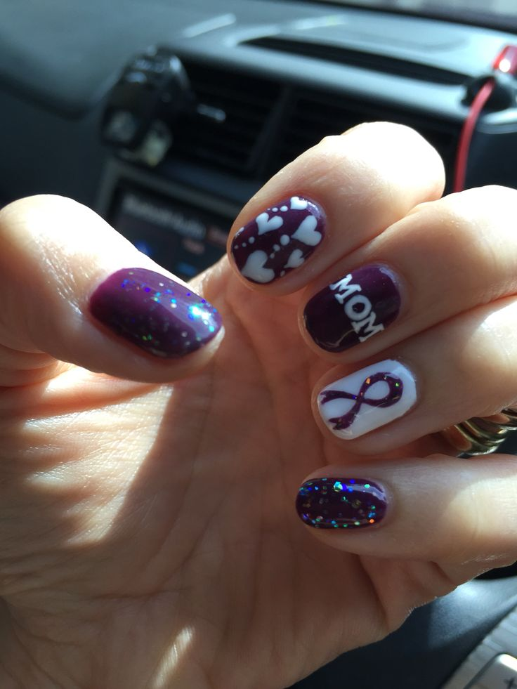 Mother's Day Nail Art. Pancreatic Cancer Awareness.