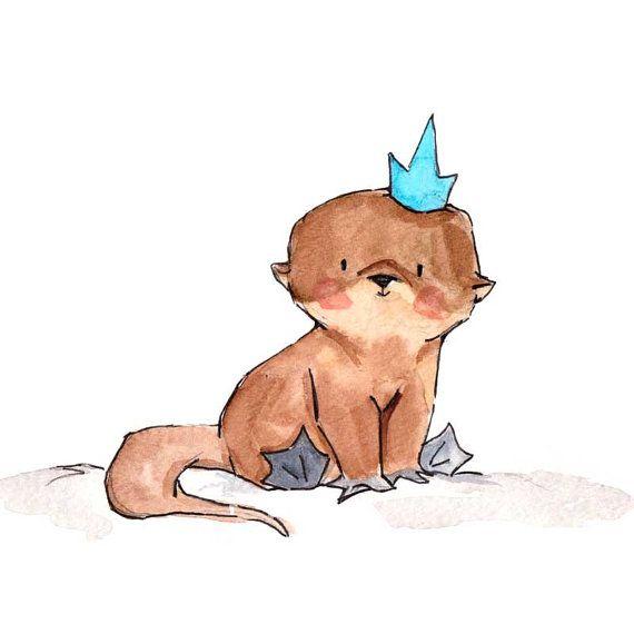 Royal Otter Pup 8x10 Nursery Art Print New Baby by ohhellodear, $20.00