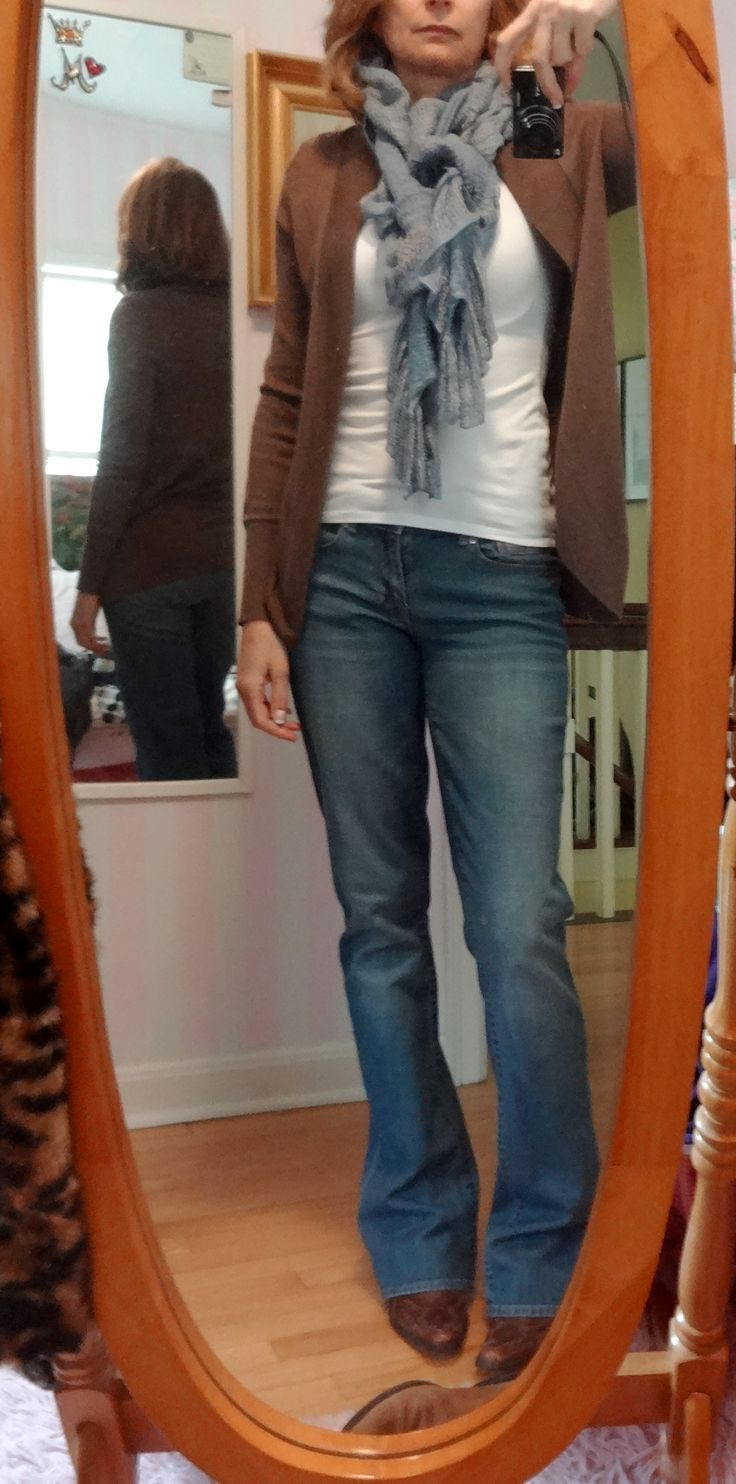 Dressing over 50 - love this blue scarf, such a comfy outfit
