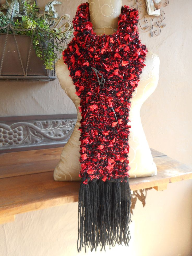 Hand Knit Scarf  Hand Knitted Scarf REd and Black Scarf by bonitastewart on Etsy