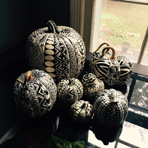 Hand-decorated artificial pumpkins by GalensTangles on Etsy