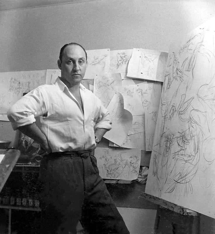 Cahén was only forty years old when he was killed in a car accident in 1956. Portrait of Oscar Cahén in his studio in 1951. Photograph by Page Toles.