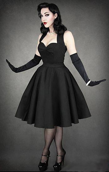 Classic Black Halter Neck Gothabilly Dress