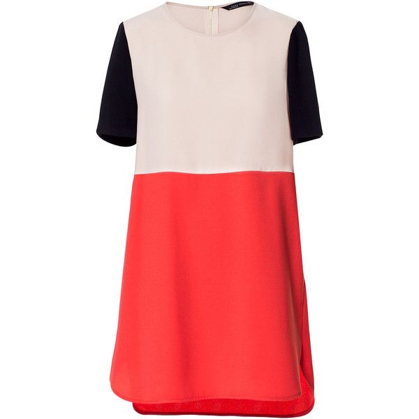 Zara Combination Dress ($30) ❤ liked on Polyvore featuring dresses, zara, red, vestidos, red dress and zara dresses