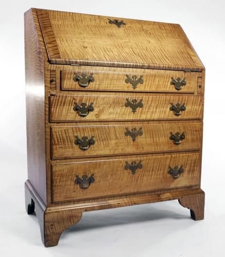 Captivating 18th Century American Tiger Maple Slant Lid Desk, Ca. 1780
