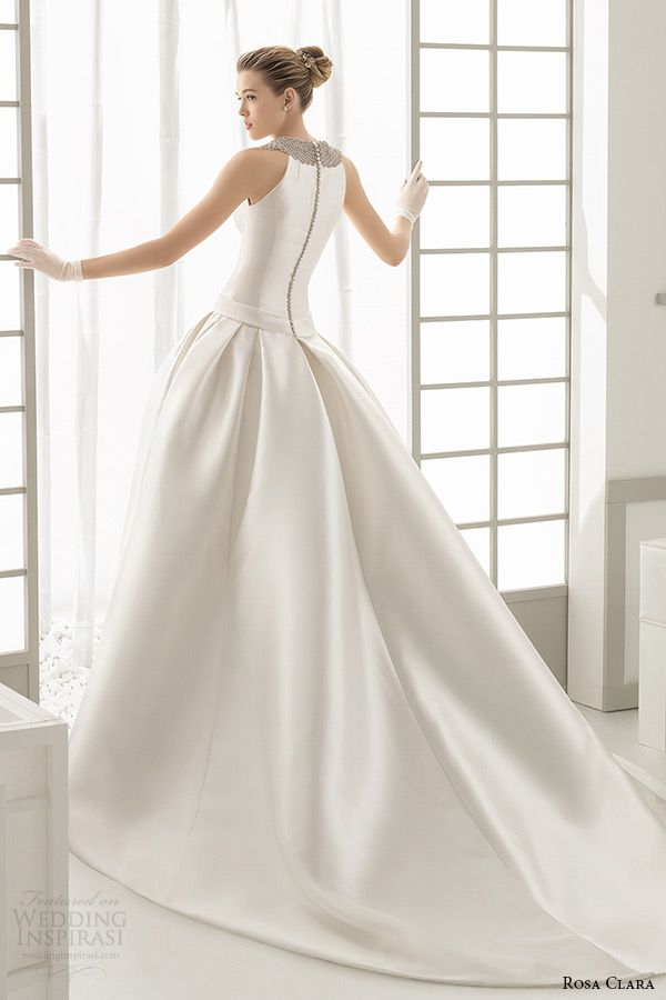 rosa clara 2016 bridal collection jewel neckline sleeveless white wedding ball gown dress with pockets delta back -- Rosa Clara 2016 Wedding Dresses Preview