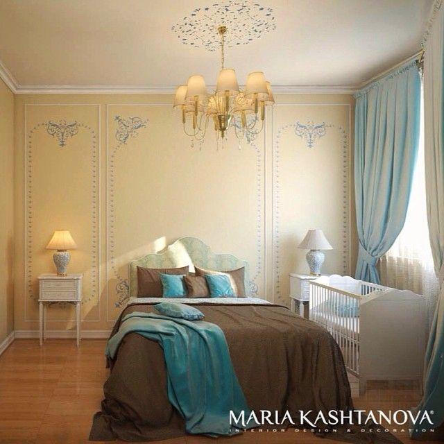 Спальня для семьи с малышом  #интерьер #спальня #дизайнер #kashtanovacom #роспись #неоклассика #французский #стиль #голубой #шоколадный #цвет #свет #кровать #текстиль #декор #дизайн #визуализация