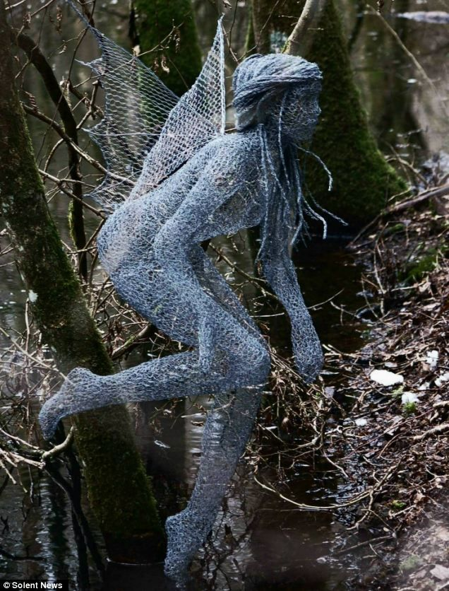 Chicken wire fairy created by artist Derek Kinzett. (Photo from Solent News.) The artists says it takes an average of 100 hours to make a sculpture.