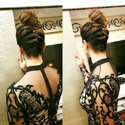 Hina Khan with French braid and top knot