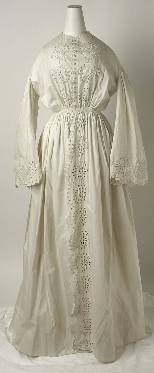 1860 Dressing Gown  Beautiful hand-stitched cotton eyelet.