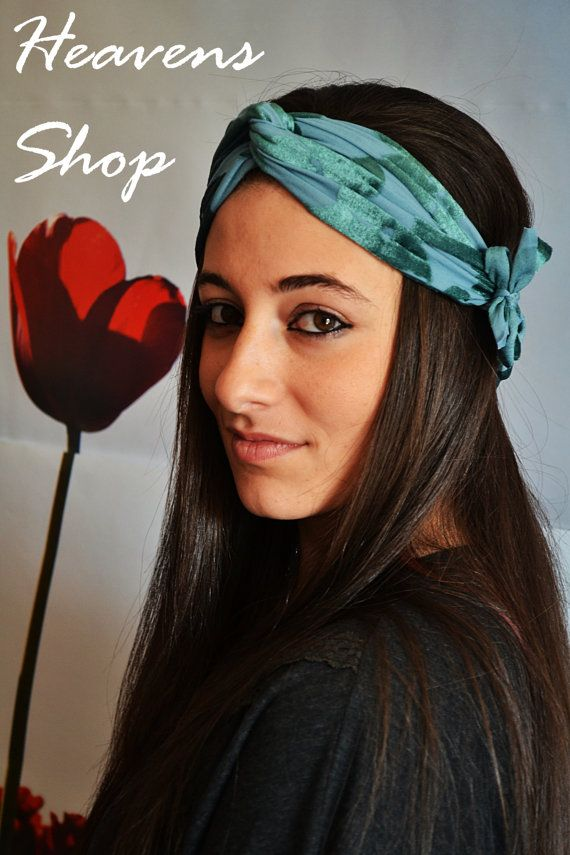 Elastic Veloure Turban Petrol Velvet Headband With by HeavensShop