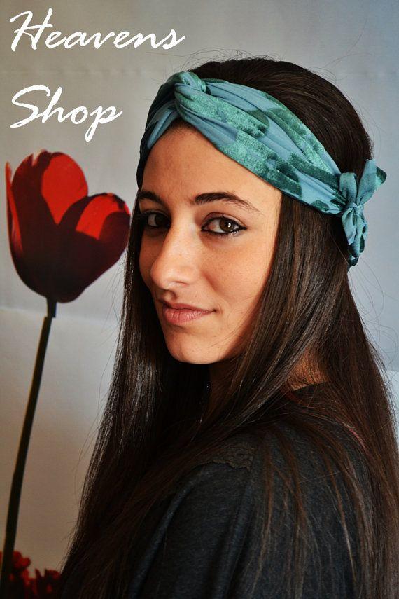 Elastic Veloure Turban Petrol Velvet Headband With by HeavensShop
