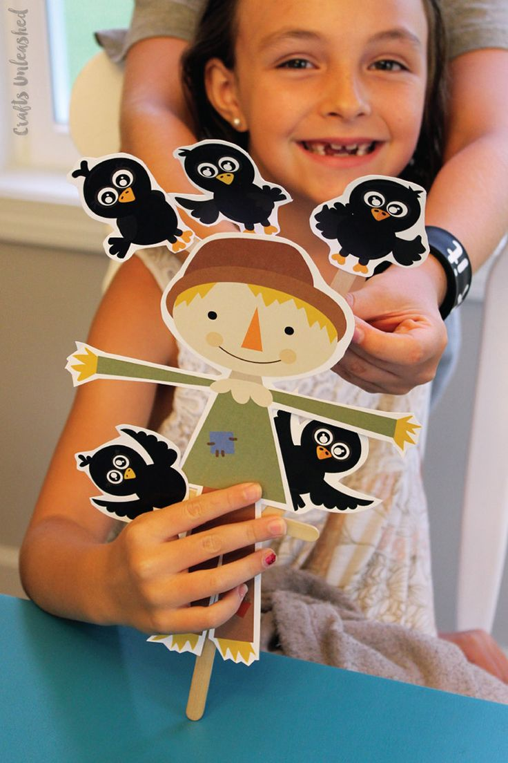 Scarecrow Craft & Crow Printable Puppets - Consumer Crafts