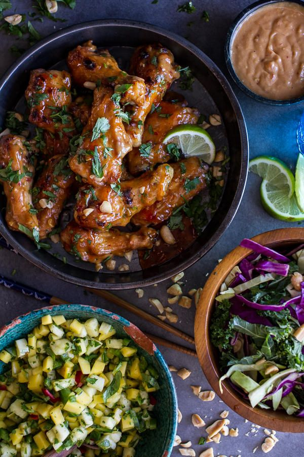 Game day goodness: Thai-inspired Peanut Chicken Wings with Pineapple and Jalapeño Salsa #superbowl #fingerfood