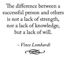 The difference between a successful person and others is not a lack of strength, nor a lack of knowledge, but a lack of will.