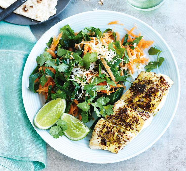 Spiced fish with carrot and coconut salad This low calorie, low fat fish recipe is a great barbecue alternative