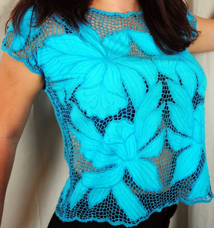 blue + blue [Bali cutwork shirt]