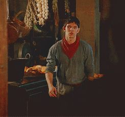 """Merlin Series 5 should have been subtitled, """"Merlin goes to the gym"""" (click for .gif)  Seriously... he went from scrawny, pasty Irish boy to buff man in one season. No complaints..."""
