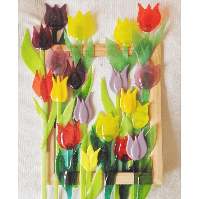 Весенние тюльпаны. Стекло, фьюзинг