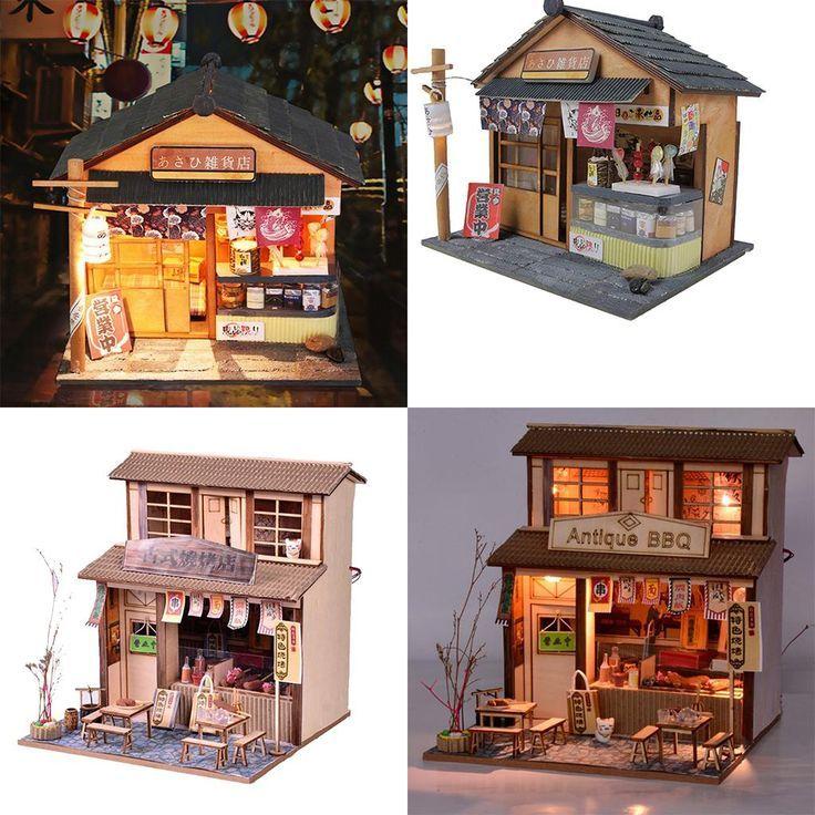 2 Satz 1/24 DIY Handwerk Miniatur Projekt Holzpuppenhaus Kinder Geschenk – Antik…