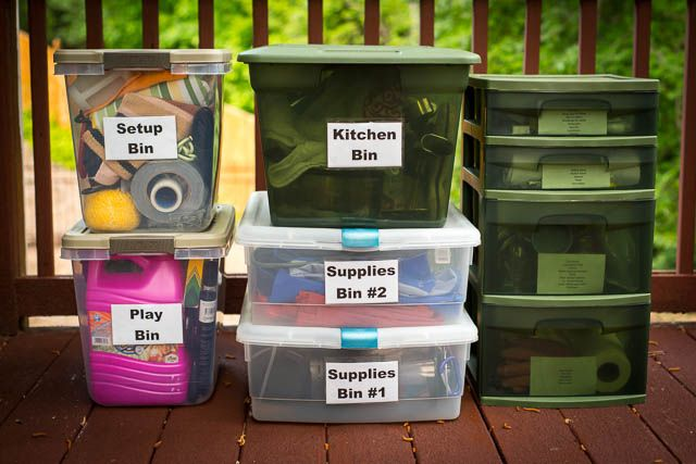 I have a master list, organized by bin, that I keep a sheet protector, so I can easily refer to it when packing or at the camp site.  Each bin is also labeled with a two-sided label that has the name of the bin on the front and the contents of the bin on the back.