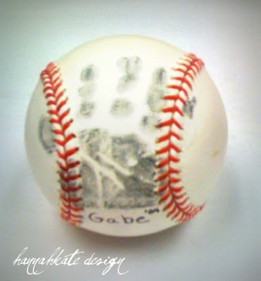 Hand print baseball. Cute gift idea for daddy from baby