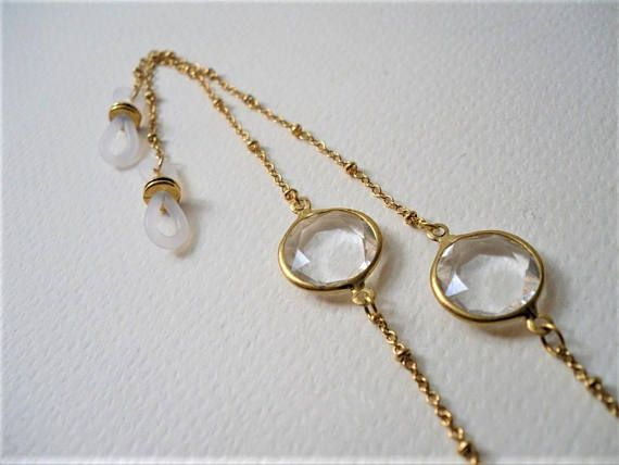 Gold Eyeglass Necklace/Clear Crystal Eyeglass Necklaces/18k