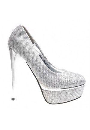 Pantofi argintii cu platforma Cassandra