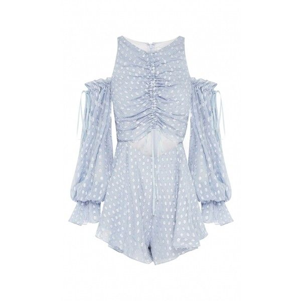 Alice McCall Did It Again Playsuit ($525) ❤ liked on Polyvore featuring jumpsuits, rompers, off the shoulder romper, polka dot rompers, off shoulder romper, blue polka dot romper and playsuit romper