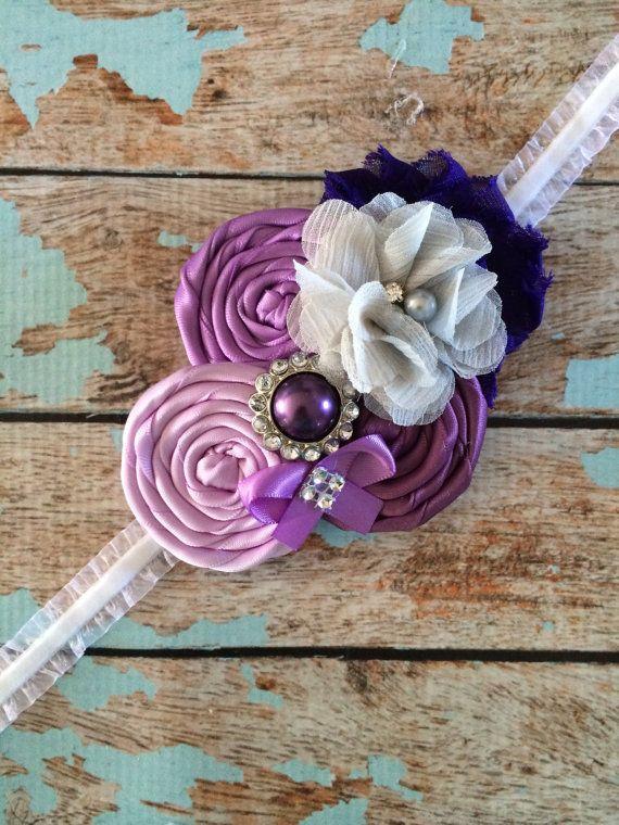 FLOWER GIRL headband , infant toddler headband , purple ,photo prop , baptism…