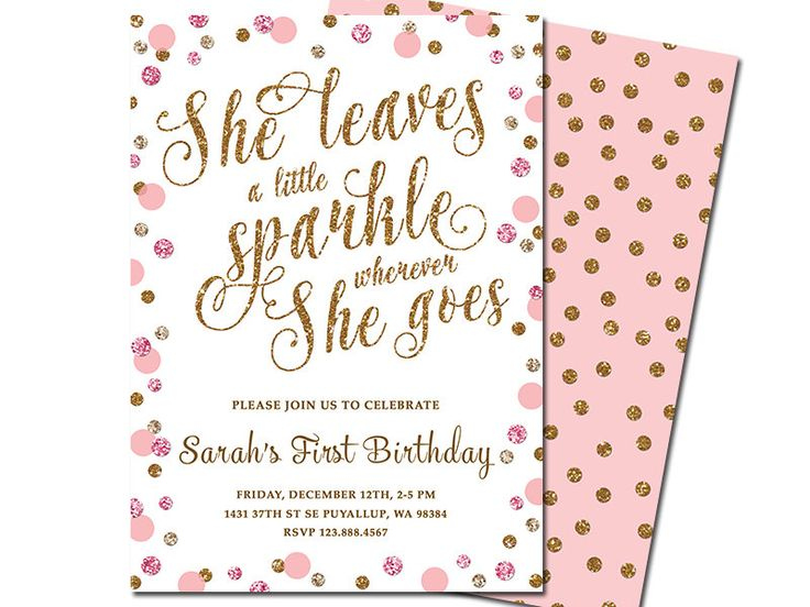 She Leaves a Little Sparkle Wherever She Goes Baby Girl Birthday Invitation, Pink Gold Glitter Polka Dots First Birthday Invitation by HappyDaysCreation on Etsy https://www.etsy.com/listing/216194269/she-leaves-a-little-sparkle-wherever-she