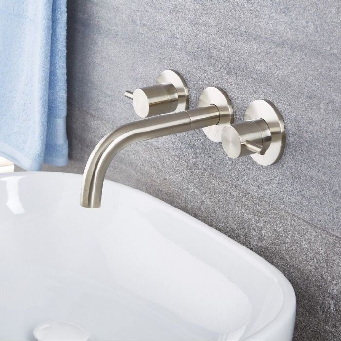 Quest Widespread Wall Mounted Bathroom Faucet Multiple Finishes Available Wall Mount Faucet Bathroom Bathroom Faucets Wall Faucet