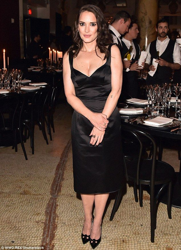 Winona Ryder shows off her cleavage in satin LBD at Marc Jacobs event