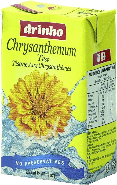 Drinho Jasmijnthee wordt gemaakt van vers gebrouwen chrysanthemumthee. Chrysanthemumthee heeft een gezondheidsbevorderlijke werking en heeft een heerlijke bloemensmaak. Drinho Chrysanthemumthee is ijsgekoeld een heerlijke dorstlesser. Geniet niet alleen op warme dagen van deze heerlijke Chrysanthemumthee van Drinho met zijn fijne bloemenaroma en zijn verfrissende smaak.