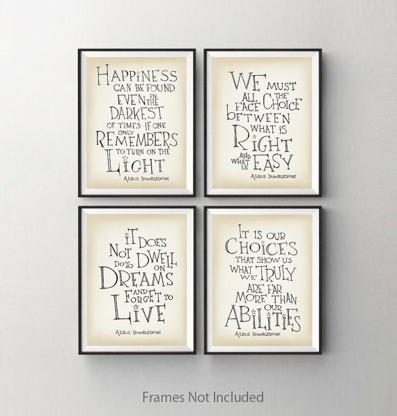 ★ Set of 4 - Dumbledore quote prints ----frame and mat not included---- SimpleSerene takes pride in our unique, hand-lettered work. Each