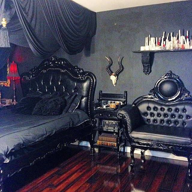Instagram Post by Kelly Eden (@kellyeden). Bedroom Decor DarkBedroom IdeasSkull  BedroomGoth ...