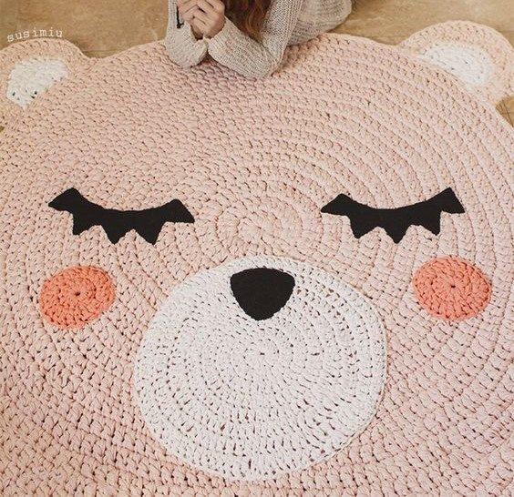 Teppich-Bären in Trapillo gemacht handgefertigtes Teppich häkeln Handarbeit