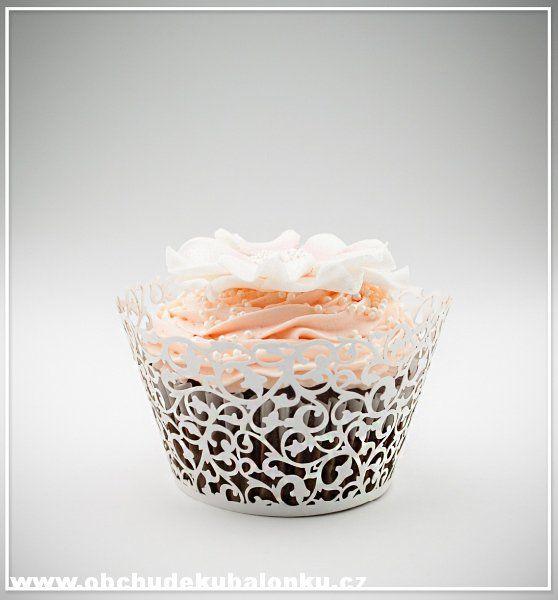 Papír. krajkové košíčky - obaly na cupcakes celokrajkové bílé